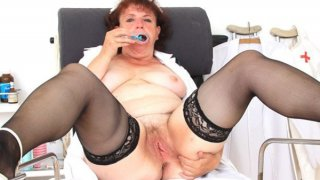 Eager head practical nurse playing with herself in her uniform