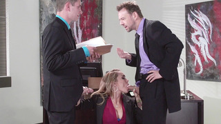Cock hungry secretary Devon sucks their cocks like a pro