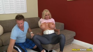 Blonde mom with huge round boobs