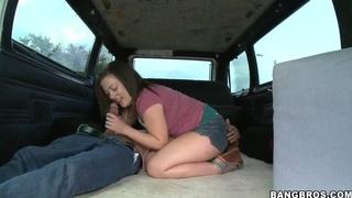 Sofia Ressen jerks off a guy in a creepy van