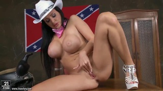 General Aletta pleasures herself on the table