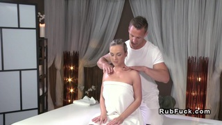 Sexy blonde after massage gets fucked