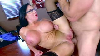 Buxom Brazilian secretary Sybil Stallone gets pounded by her boss