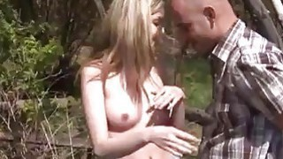 Abby deep-throating man meat outdoor