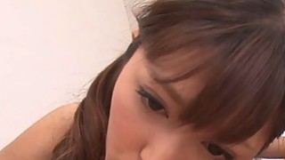 A petite japanese girl started licking dude and sucking his cock