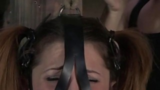 Bondage brunette slave girl and her mistress 4
