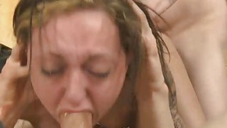 Brunette Sucking Dick And Doggystyled In Rough Threesome