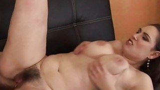 Cute brunette getting her very hairy cunt pounded