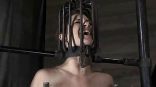 Tied up serf receives pleasuring her naughty pussy