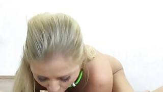 Teen Karolina blows and rides on a cock and gets a cumfacial