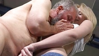 Old fucker enjoys sex with juvenile babe
