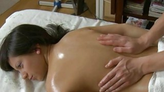 Juvenile masseur is working hard to fun cutie