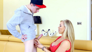 Rebecca More sucking her daughter boyfriend's meaty cannon