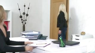 Blonde model finger fucks female agent