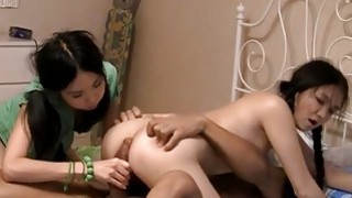 Two cute college girls share a meaty cock