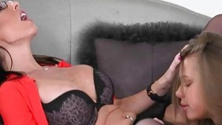 Dava Foxx and Liza Rowe intimate lesbo action on the couch