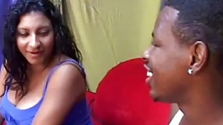 Pregnant Ebony Coco Butter Sucks Black Dick And Gets Fucked On Red Sofa
