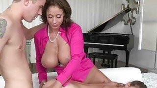 Stepmom caught couple fucking on sofa