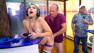 Kimber Lee having steamy sex on a video game competition