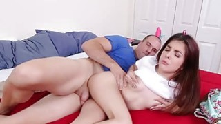 Sally Squirt takes a giant dick in her tiny pussy