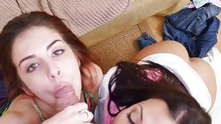 Stepmom Rachel Starr shares cock with Sally Squirt