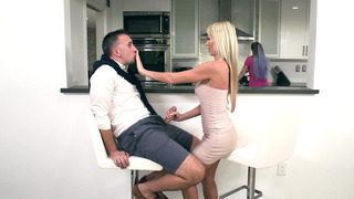 Tylo Duran sucks her sister husband's cock behind the counter