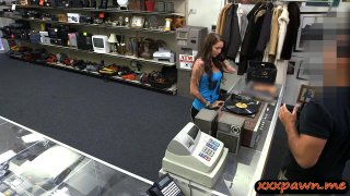 Tattooed babe selling her vinyl records