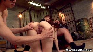 Kinky bitch Karin Yazawa mouth fucked by two horny