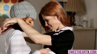 MILF redhead and a teen redhead pussy battle