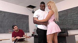 Cuck watches his fave teacher go black