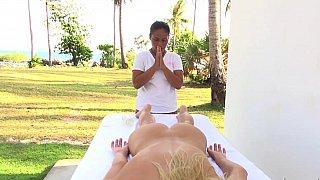 Naked girl gets massaged