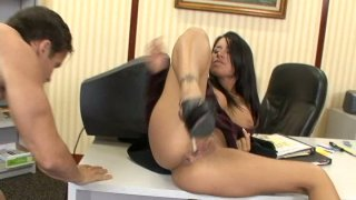 Office whore Eva Angelina sucks cock and fucks missionary style