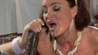 Big tits of Lisa Ann are for titfucking big black dicks