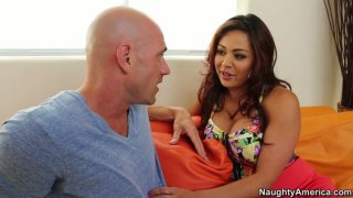 Devilishly attractive Mia Lelani gets pleased by a brutal bald dude