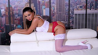 Bronzed beauty shows off on cam