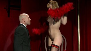 Blonde slut Lexi Belle blows fat dick on the stage