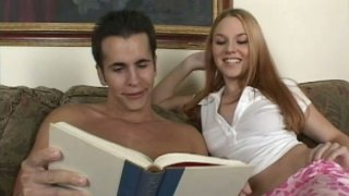 Red haired nympho Ginger Taylor seduces a man for sucking his cock
