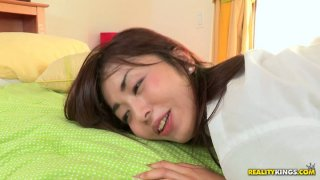 Japanese cutie makes one man happy by giving her ass for pounding