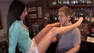 Black hared MILF Nikki Daniels with small boobs seduces bartender