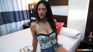 Ugly brunette whore Shanel with saggy tits shows her twins