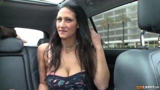 Horny stud picks up a whorish girl on a street
