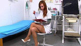 Kinky nurse showing her private parts at the hospital