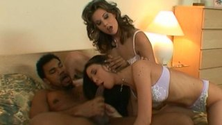 Lithe Jessica May and another brunette do their best for pleasing black cock