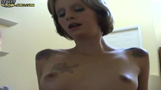 Teen blondie bounces on cock after sucking it
