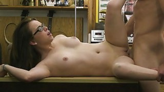 Amateur with glasses fucked by pawn dude