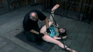 Restless slut Kristine Andrews is fingered hard being tied up. BDSM video