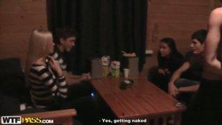 Zealous slim girlies desire to have unforgettable swinger party in hot sauna
