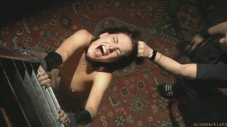 Brunette teeny whore Lyen Parker is blindfolded and whipped really hard