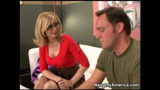 Slutty movie producer Nina Hartley puts every guy for cock audition