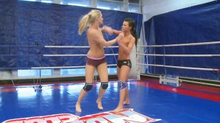 Ally Melane wrestles her girlfriend half naked on the ring